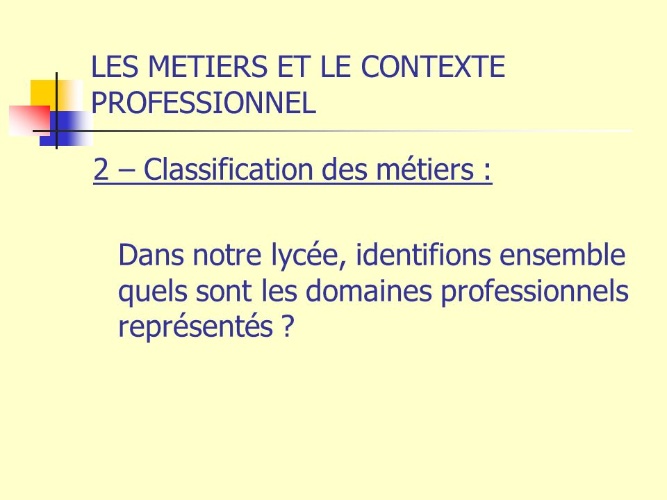 LES METIERS ET LE CONTEXTE PROFESSIONNEL