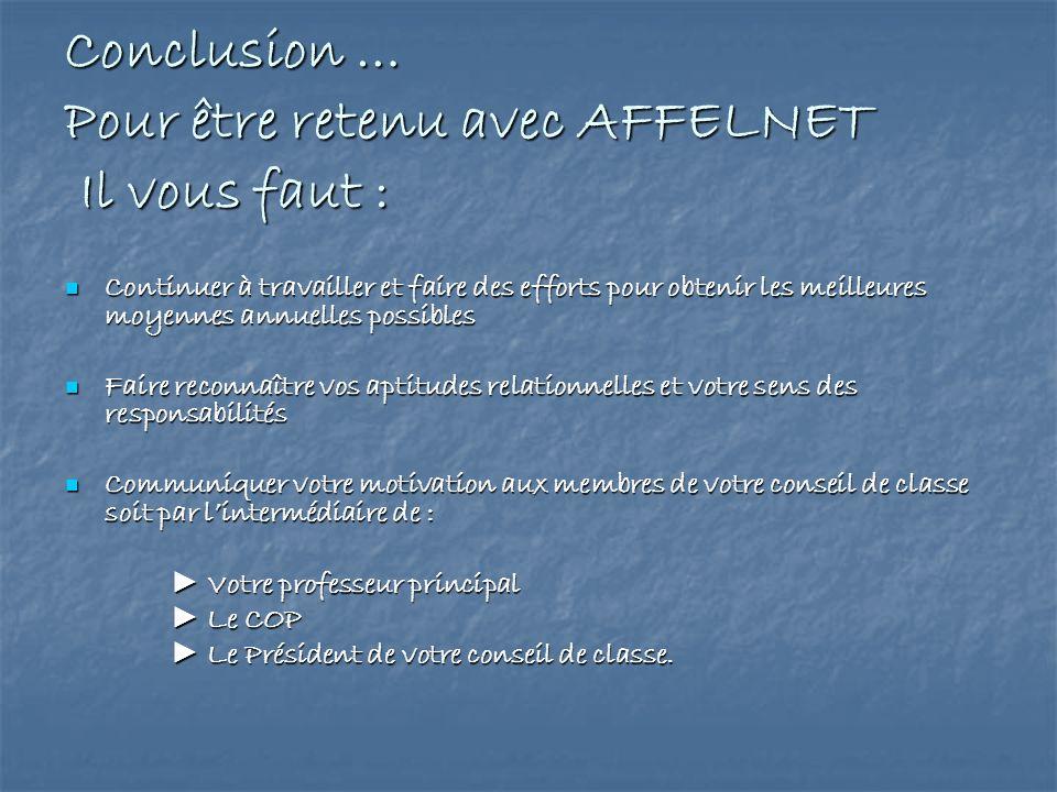 Conclusion … Pour être retenu avec AFFELNET Il vous faut :