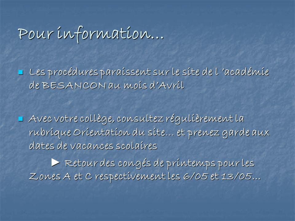 Pour information…Les procédures paraissent sur le site de l 'académie de BESANCON au mois d'Avril.