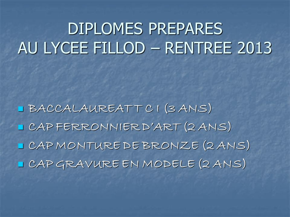 DIPLOMES PREPARES AU LYCEE FILLOD – RENTREE 2013
