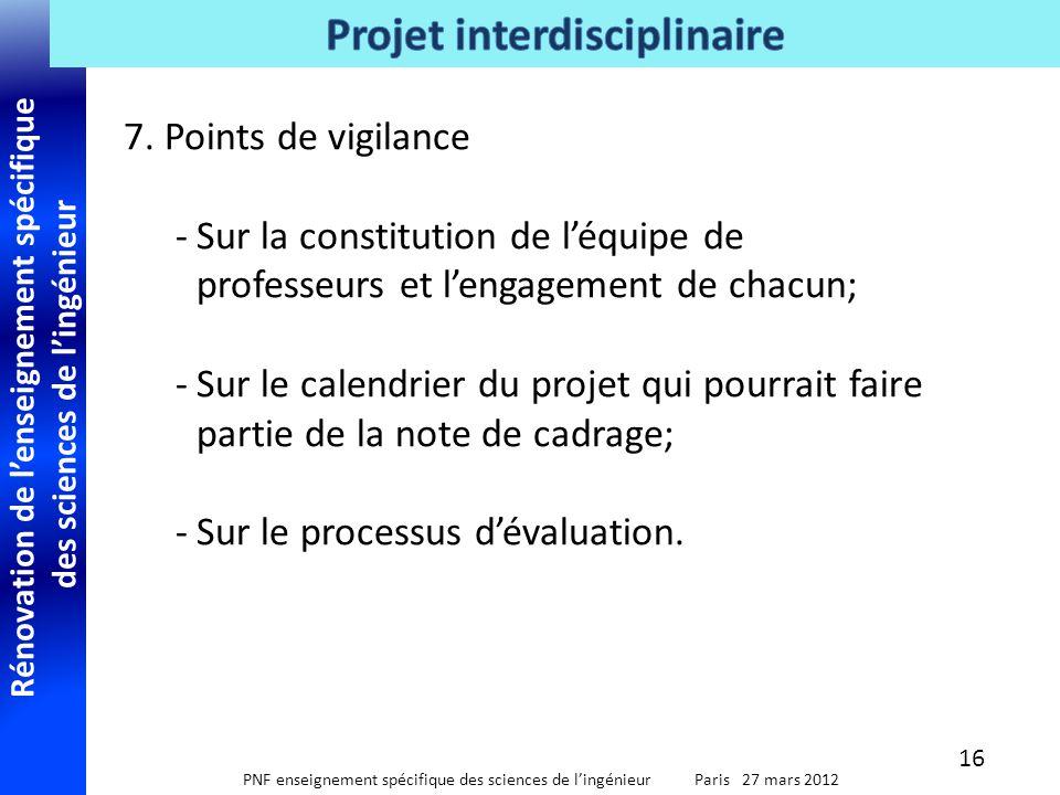 7. Points de vigilance Sur la constitution de l'équipe de professeurs et l'engagement de chacun;