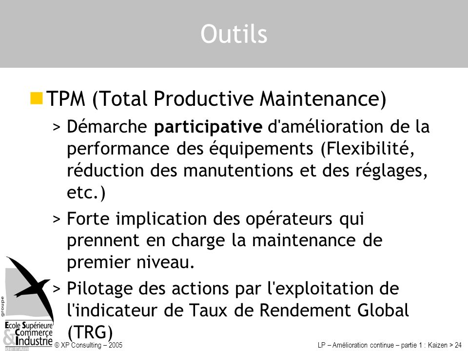 Outils TPM (Total Productive Maintenance)