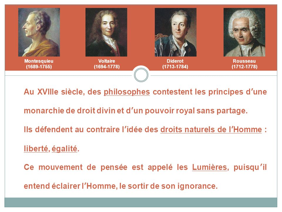 Montesquieu (1689-1755) Voltaire. (1694-1778) Diderot. (1713-1784) Rousseau. (1712-1778)