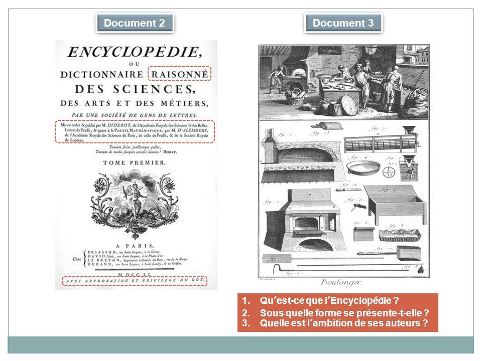 Document 2 Document 3 Qu'est-ce que l'Encyclopédie