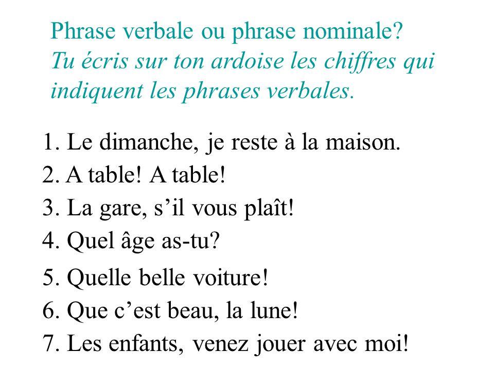 Phrase verbale ou phrase nominale