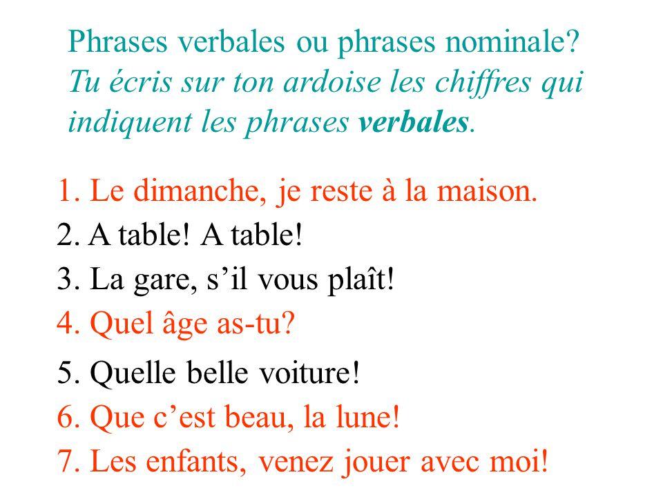 Phrases verbales ou phrases nominale