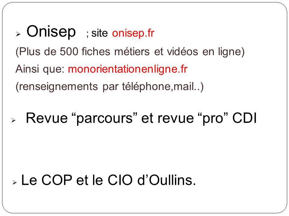 Onisep ; site onisep.fr Revue parcours et revue pro CDI
