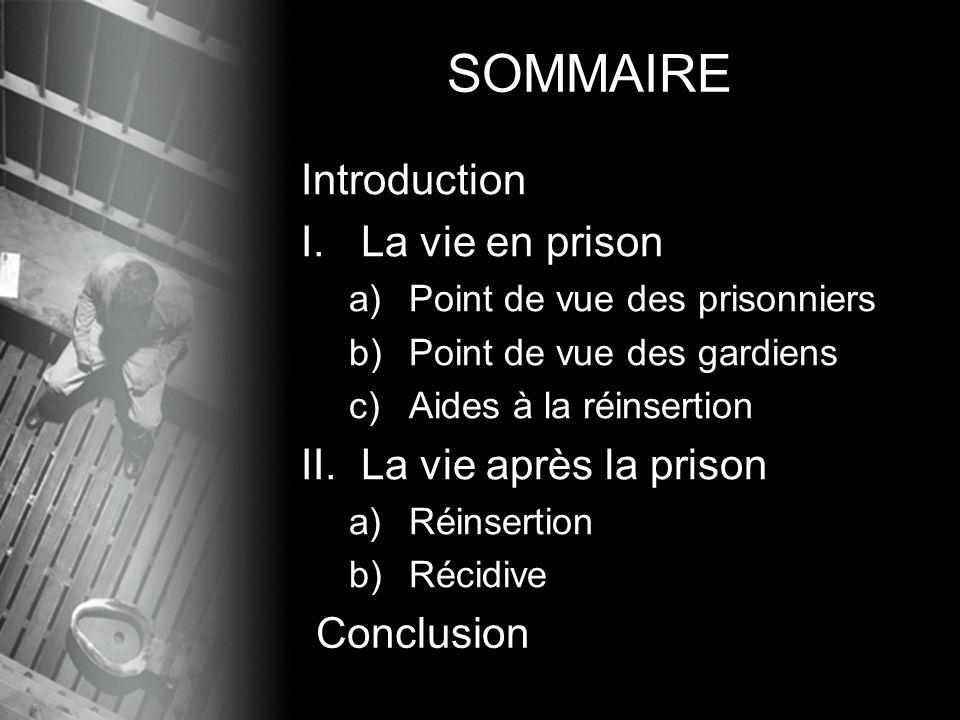 SOMMAIRE Introduction La vie en prison La vie après la prison