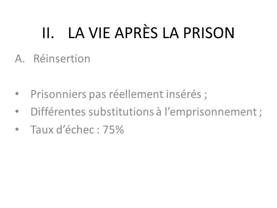 LA VIE APRÈS LA PRISON Réinsertion