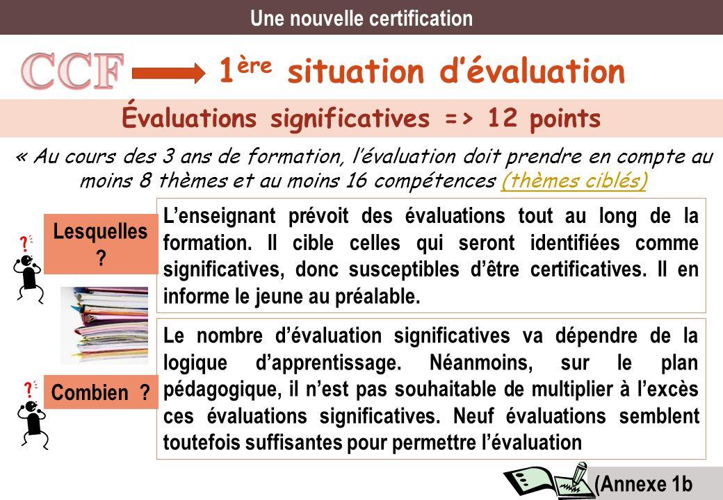 Une nouvelle certification Évaluations significatives => 12 points