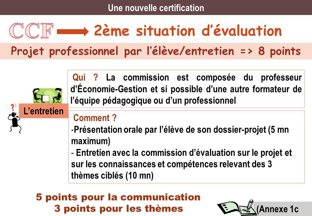 CCF 2ème situation d'évaluation