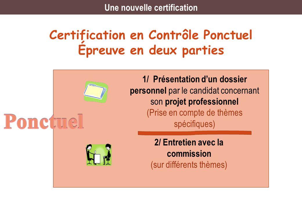 Ponctuel Certification en Contrôle Ponctuel Épreuve en deux parties