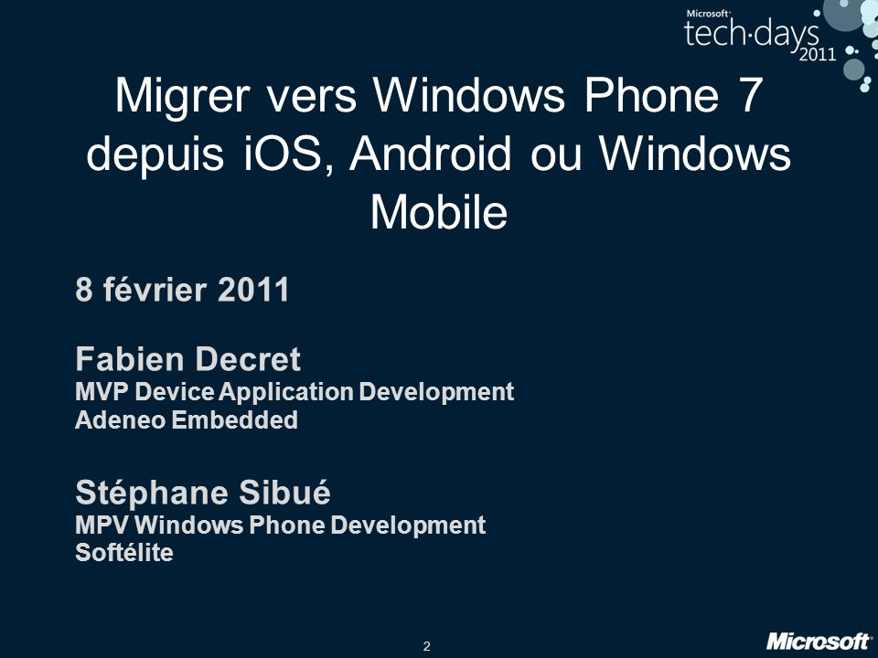 Migrer vers Windows Phone 7 depuis iOS, Android ou Windows Mobile