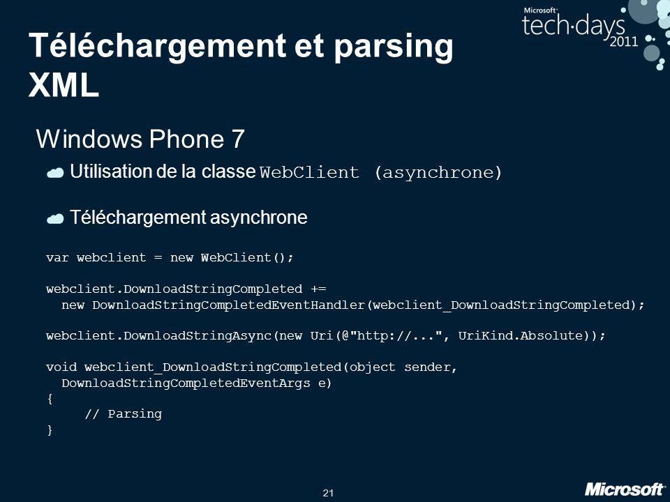 Téléchargement et parsing XML