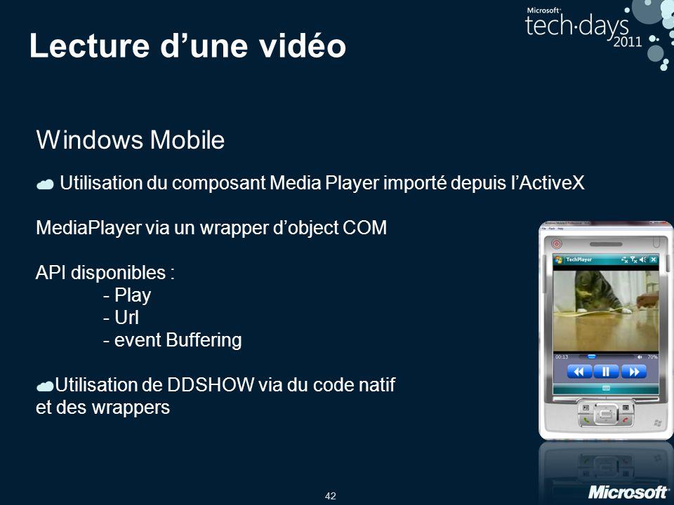 Lecture d'une vidéo Windows Mobile