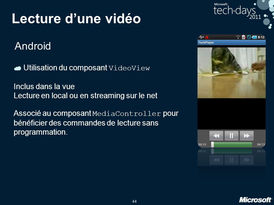 Lecture d'une vidéo Android Utilisation du composant VideoView