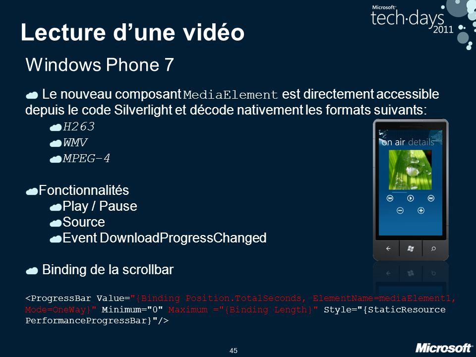 Lecture d'une vidéo Windows Phone 7