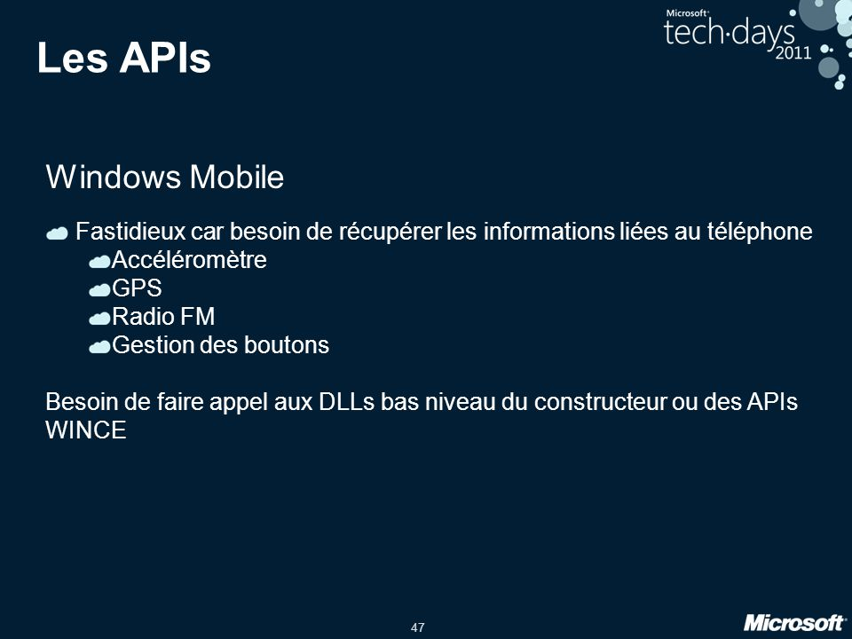 Les APIs Windows Mobile