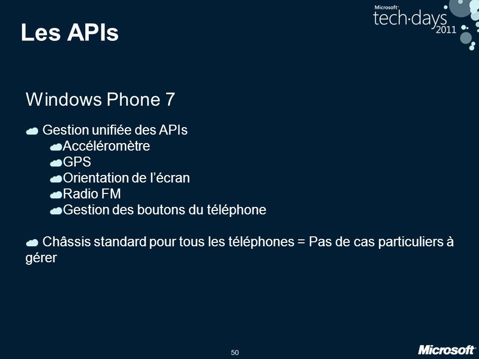 Les APIs Windows Phone 7 Gestion unifiée des APIs Accéléromètre GPS