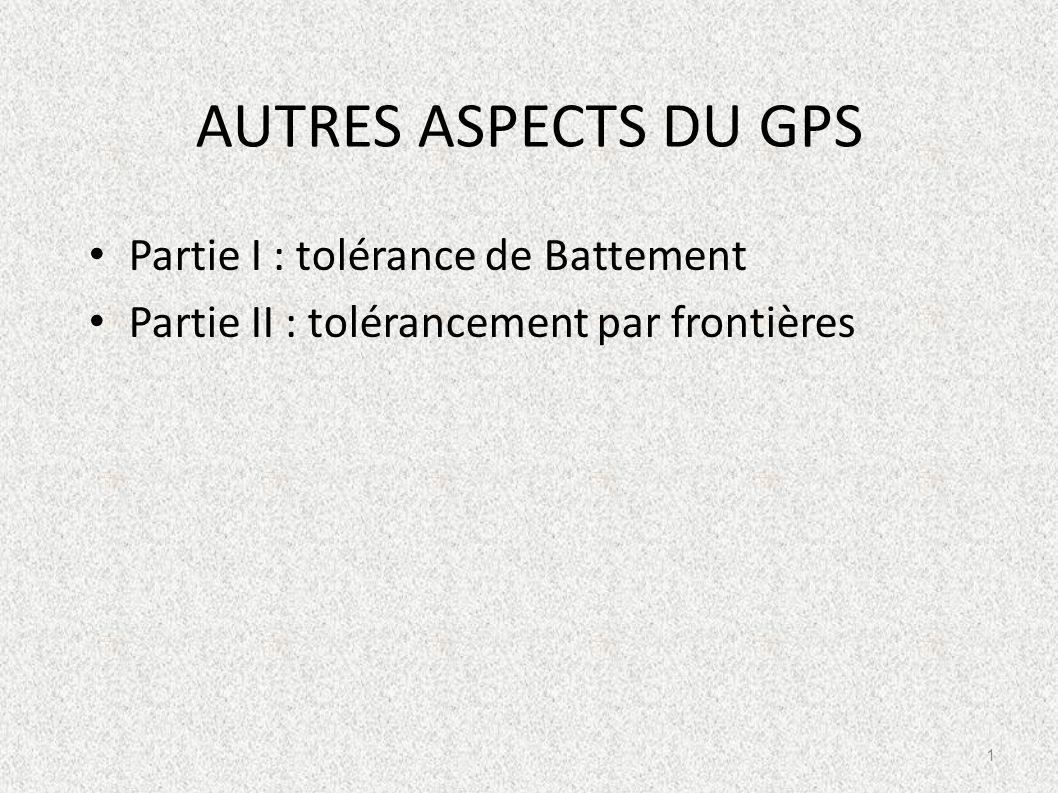 AUTRES ASPECTS DU GPS Partie I : tolérance de Battement
