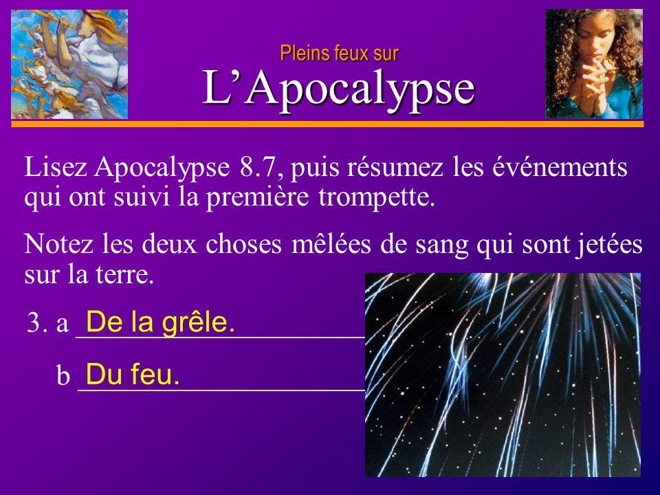 Pleins feux sur L'Apocalypse. Lisez Apocalypse 8.7, puis résumez les événements qui ont suivi la première trompette.