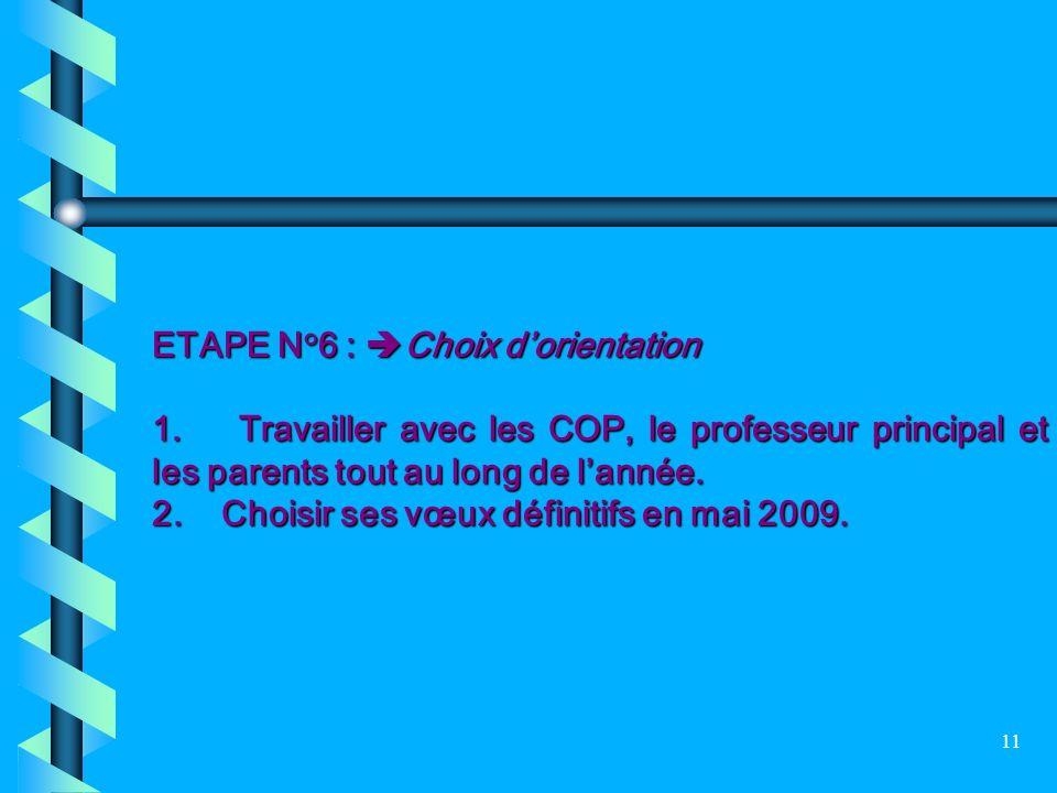 ETAPE N°6 : Choix d'orientation