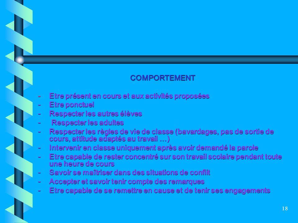 COMPORTEMENT - Etre présent en cours et aux activités proposées. - Etre ponctuel. - Respecter les autres élèves.