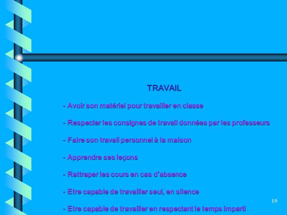 TRAVAIL - Avoir son matériel pour travailler en classe. - Respecter les consignes de travail données par les professeurs.