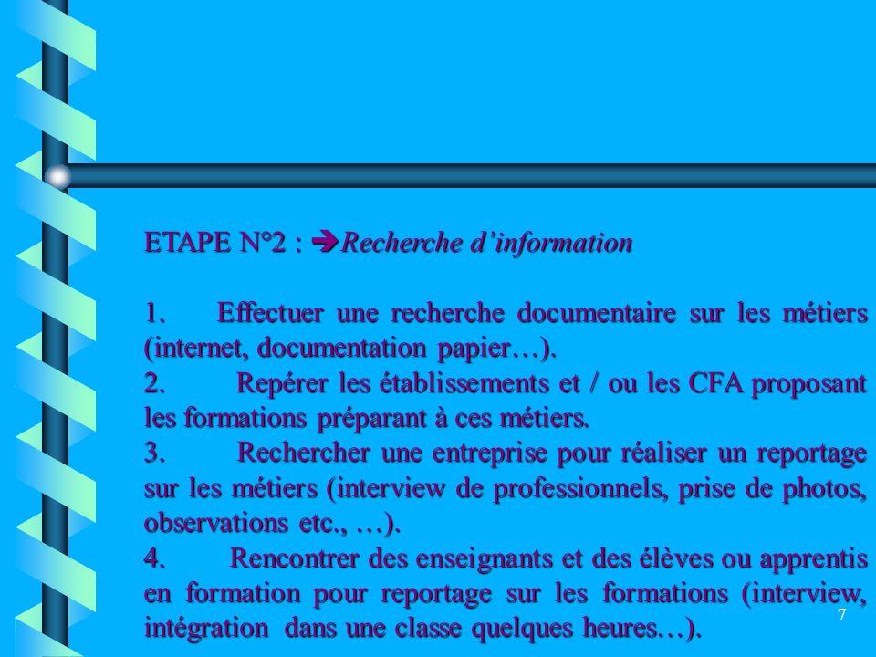 ETAPE N°2 : Recherche d'information