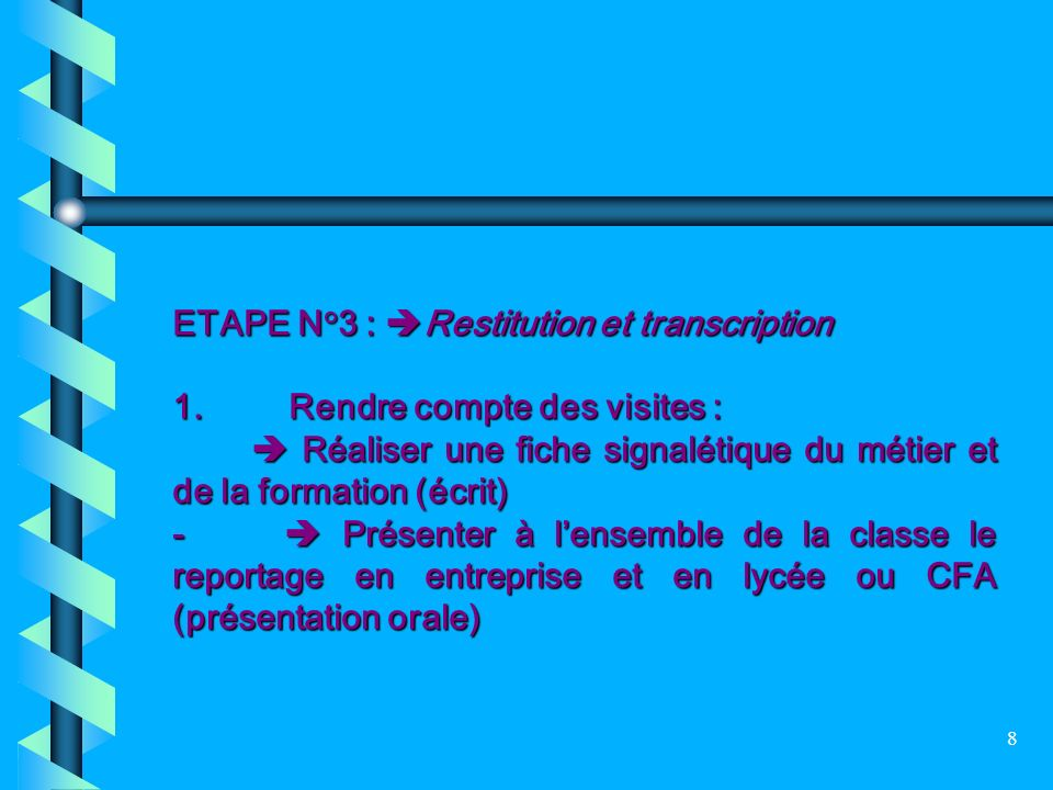 ETAPE N°3 : Restitution et transcription