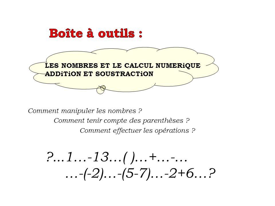 ...1…-13…( )…+…-… …-(-2)…-(5-7)…-2+6… Boîte à outils :