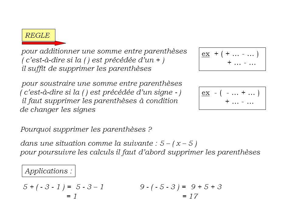 REGLE pour additionner une somme entre parenthèses. ( c'est-à-dire si la ( ) est précédée d'un + )