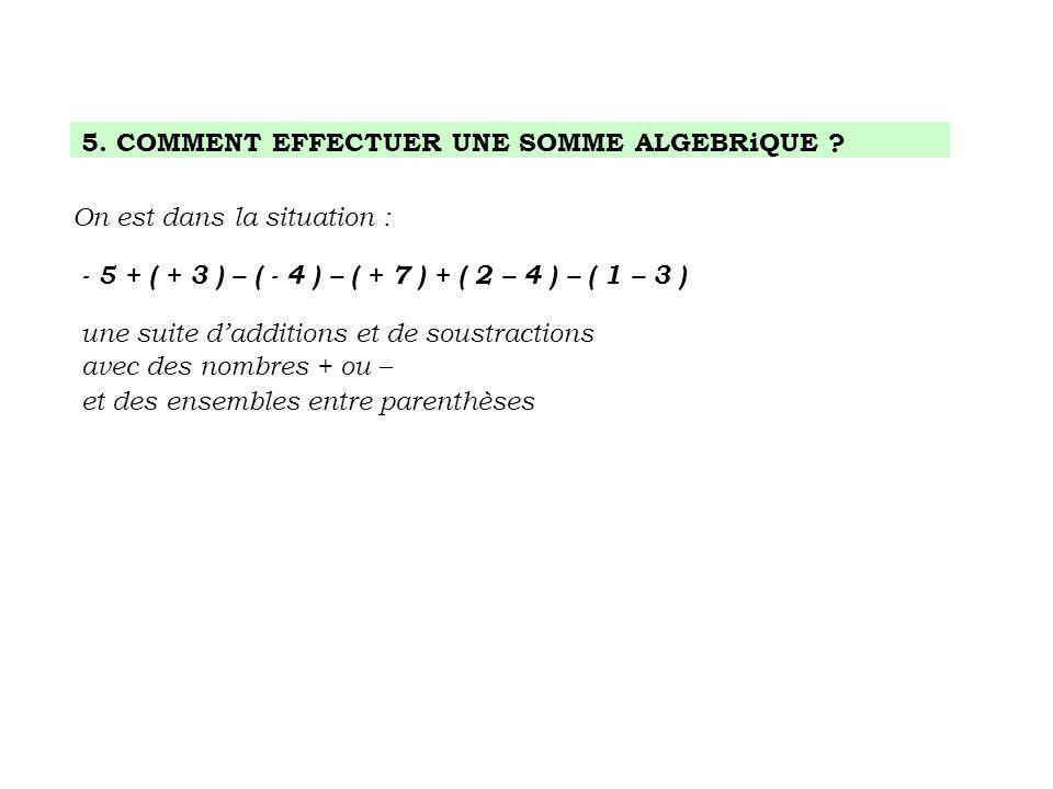 5. COMMENT EFFECTUER UNE SOMME ALGEBRiQUE