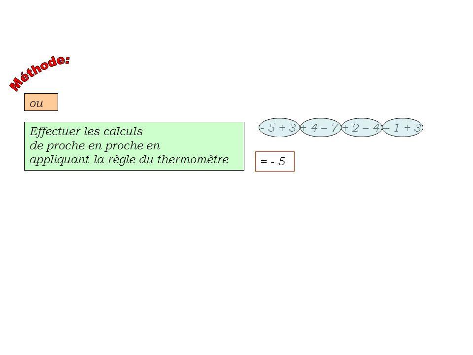 Méthode: ou. - 5 + 3 + 4 – 7 + 2 – 4 – 1 + 3. Effectuer les calculs. de proche en proche en. appliquant la règle du thermomètre.