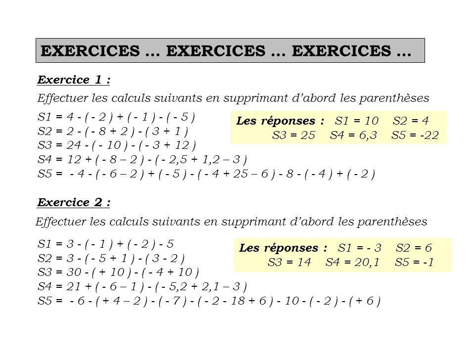 EXERCICES … EXERCICES … EXERCICES …