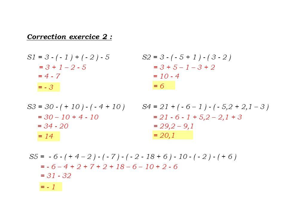 Correction exercice 2 : S1 = 3 - ( - 1 ) + ( - 2 ) - 5. S2 = 3 - ( - 5 + 1 ) - ( 3 - 2 ) = 3 + 1 – 2 - 5.
