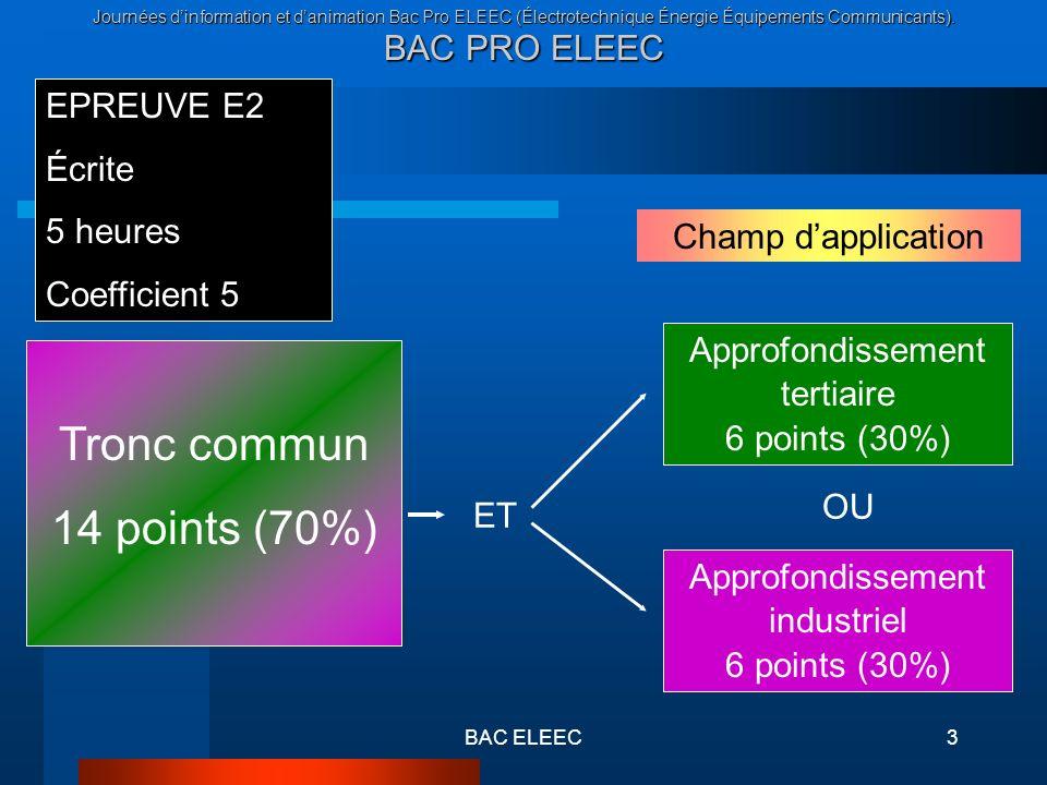 Tronc commun 14 points (70%) EPREUVE E2 Écrite 5 heures Coefficient 5