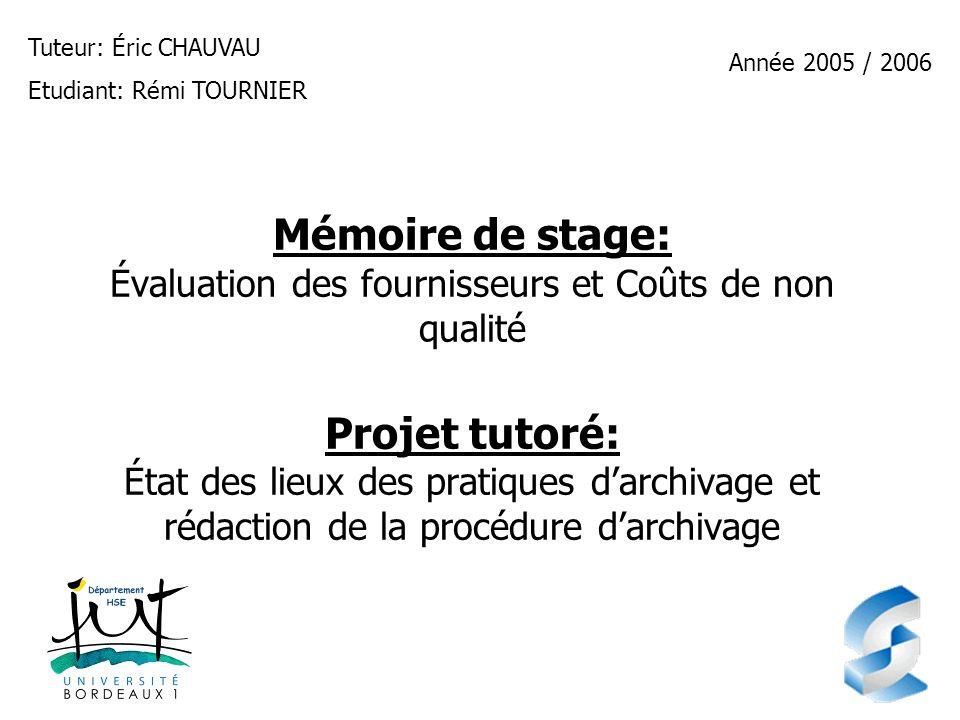Tuteur: Éric CHAUVAUEtudiant: Rémi TOURNIER. Année 2005 / 2006.
