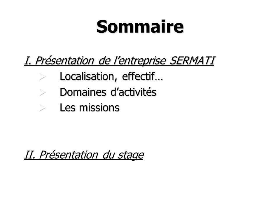 Sommaire I. Présentation de l'entreprise SERMATI