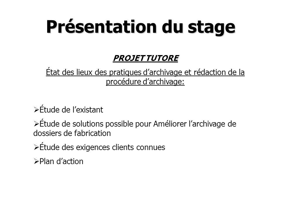 Présentation du stage PROJET TUTORE