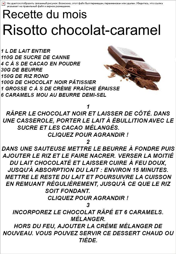 Recette du mois Risotto chocolat-caramel