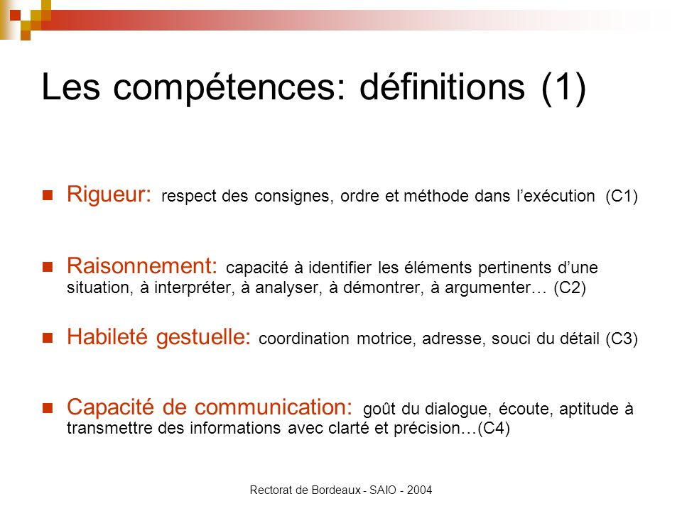 Les compétences: définitions (1)