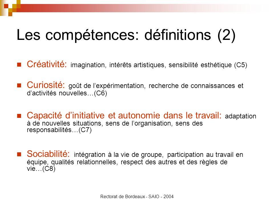 Les compétences: définitions (2)