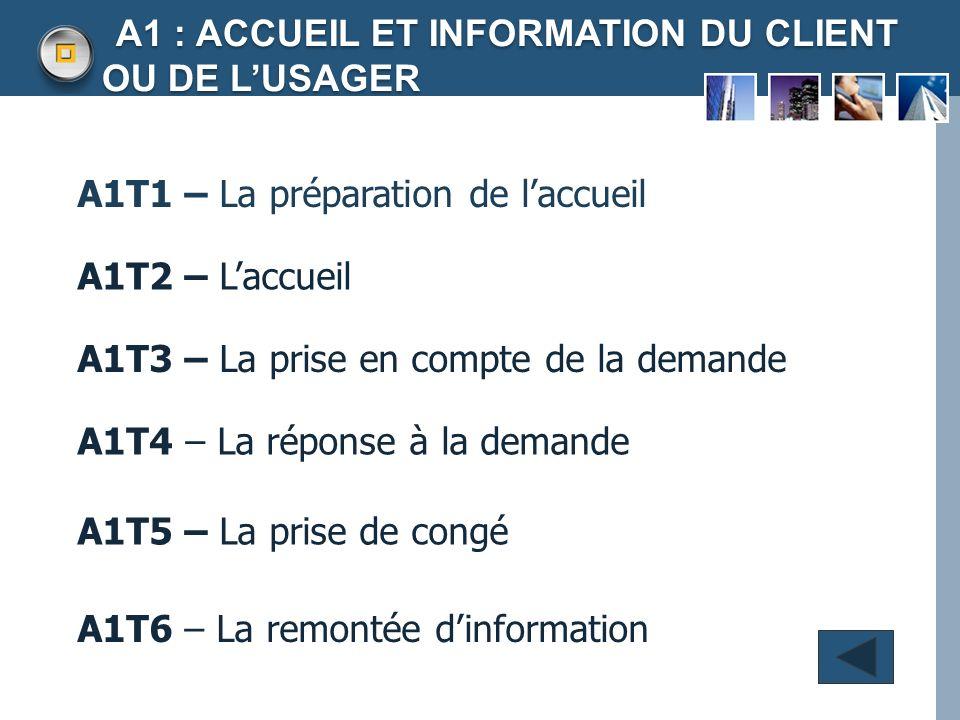 A1 : ACCUEIL ET INFORMATION DU CLIENT