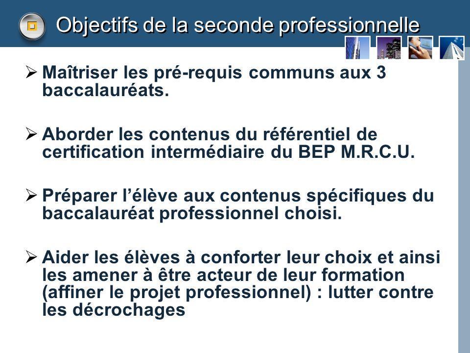 Objectifs de la seconde professionnelle