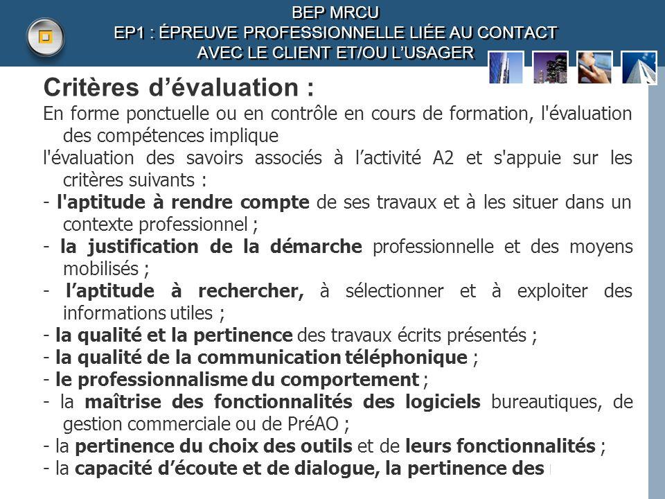 Critères d'évaluation :