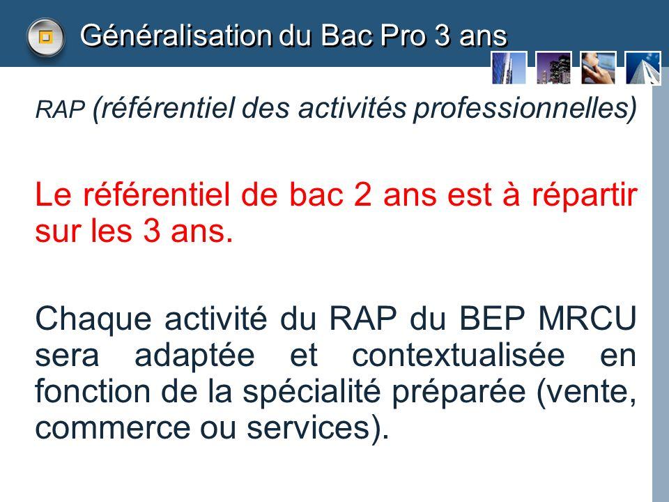 Généralisation du Bac Pro 3 ans