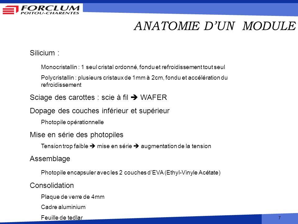 ANATOMIE D'UN MODULE Silicium :