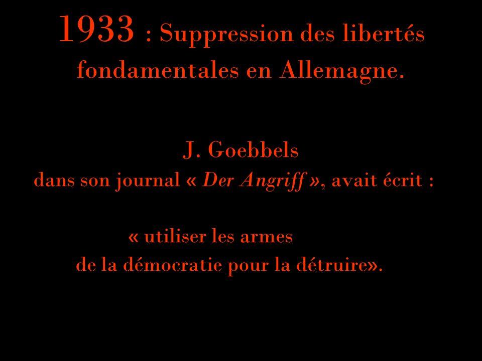 1933 : Suppression des libertés fondamentales en Allemagne.