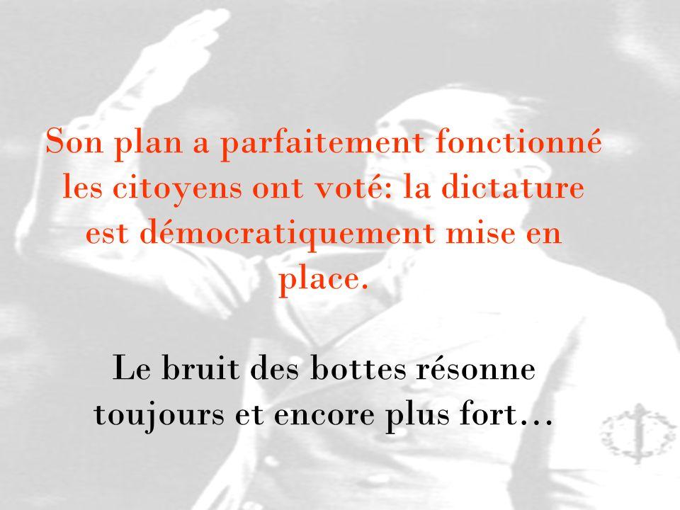 Son plan a parfaitement fonctionné les citoyens ont voté: la dictature est démocratiquement mise en place.